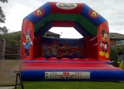 MICKEY MOUSE BOUNCY CASTLE 15 X 15 FT This Bouncy Castle is suitable for Children and Adults The Castle will hold 8 to 10 users at a time The Castle has a sewn in rain cover for light rain The required space needed for this Bouncy Castle is 18 X 18 X 14FT