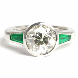 Diamond and Emerald Platinum Ring