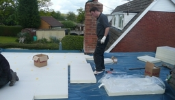 Warm roof installation DPM vapour barrier and 120mm Kingspan TR27 building regs compliant.