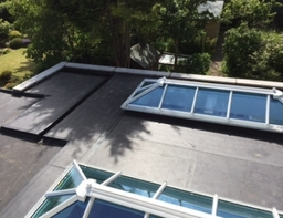 Duoply  ( EPDM )rubber flat roof and lanterns