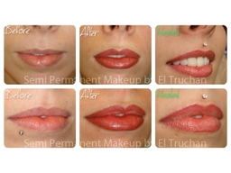 Semi Permanent Makeup lip blush Before - After - Healed by El Truchan @ Perfect Definition