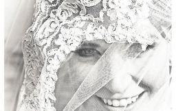 Black White Bride Portrait