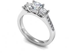 Three Stone Princess Cut Diamonds Ring With Diamond Set Shoulders