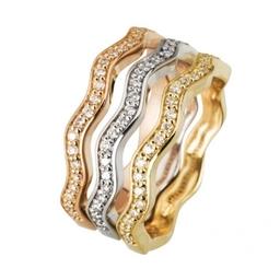 Three Wave design  rings  diamond set in three coloured golds