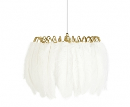 These glamorous feather lamps feature luxurious black or white feathers held in place by a gold metal wire frame