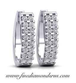 Double Row Round Brilliant Cut Diamonds Hoop Earrings at Fine Diamonds R us
