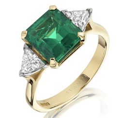 Large emerald & diamond cocktail dress ring