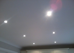 Re-boarded, plastered and fitted spot lights to ceiling