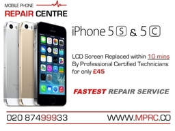 iPhone 5s and 5c LCD Screen Replaced within 10 mins by Professional Certified Technicians