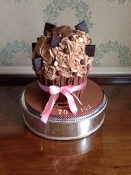 Rich chocolate large cupcake birthday cake