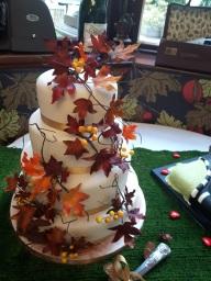 Autumnal themed wedding cake