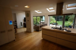 Whole home audio system in Earley, with ceiling speakers and touch screen control.