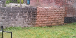 Stone wall cleaning and restoration Nottingham .