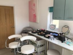 Studio set up for a bridal trial/makeup lesson
