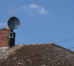 Log Periodic aerial and Eurosat Dish Installed to chimney stack
