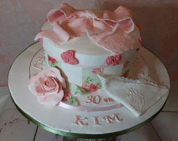 Shabby chic cake with edible lace handkerchief