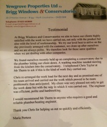 Brigg Windows & Conservatories testimonial