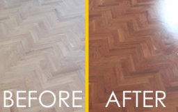 Before and after floor sanding
