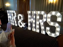 Mr & Mrs - giant letter hire in Essex