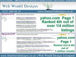 Client Yahoo search engine ranked with organic SEO