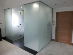 Frosted glass bathroom