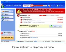 Fake anti-virus removal service