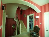 Hall Stairs paper hanging and coving