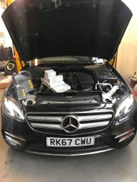 Mercedes being serviced