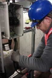 Managing Director Dan, fitting an Isolator