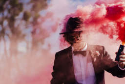 Groom with a smoke bomb