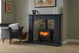Honed granite fireplace stove surround