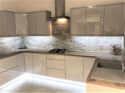 gloss grey kitchen on display