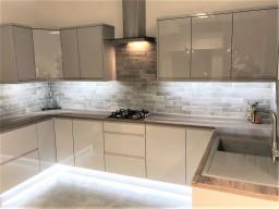 gloss grey kitchen on display