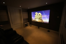 Home cinema project in Berkshire using a JVC D-ILA projector and 5.1 surround sound.