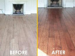 Oak floor sanding at home