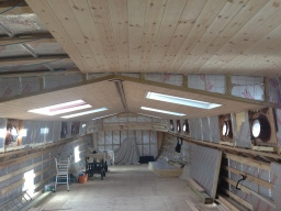 Dutch barge conversion being insulated