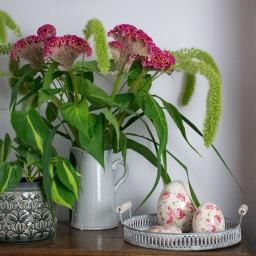 Floral Ceramic Eggs on Zinc Tray