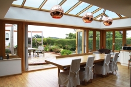 Oak Orangery with bi-fold doors in West Sussex