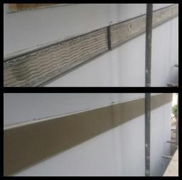Exterior render, stainless steel beaded & repaired