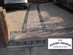 Gravel Driveway with granite apron and paved path
