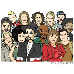 Boy George and his team on The Voice