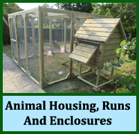 animal housing, runs, enclosures, coops