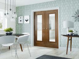 Contemporary Walnut Glazed French Door