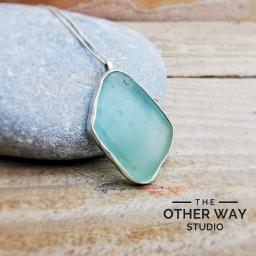 Handmade Silver Seaglass Bezel Pendant