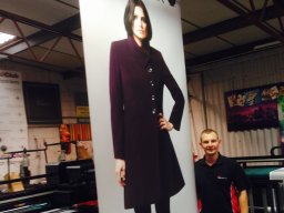 A happy customers roller banner