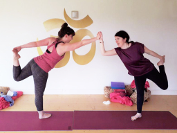 Fun partner positions during Aruna Yoga retreat.