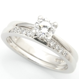 Platinum Diamond Set Fitted Wedding Ring To Solitaire Engagement Ring