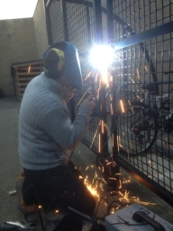locks and closers welded to steel doors