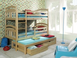 Triple Sleeper Bunk Beds in Natural pine colour