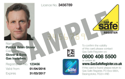 Gas Safe ID card